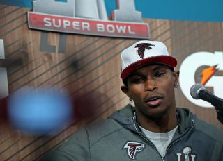 Julio Jones of the Atlanta Falcons speaks during Media Night at Minute Maid Park in Houston on Monday, January 30, 2017. Staff Photo by Nancy Lane