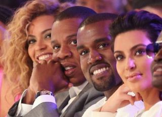 Jay-Z, Kanye, Beyonce & Kim Kardashian at the 2012 BET Awards