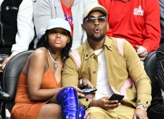 Summer Walker and London On Da Track Watching A Clippers Game Together
