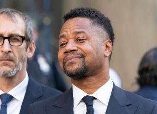 Actor Cuba Gooding Jr. listens as attorney Mark Heller...