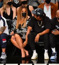 Jay-Z and Beyonce attend Celebrities Attend Brooklyn Nets Game