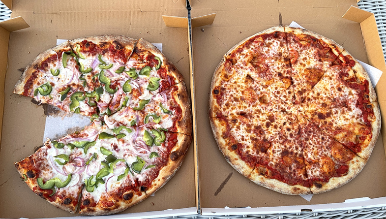 Pizzas side by side
