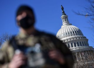 National Guard In Front Of The Capitol