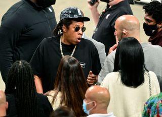 Jay-Z at the Milwaukee Bucks v Brooklyn Nets - Game One