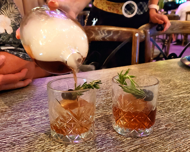 Smoky Manhattan cocktails in Las Vegas bar