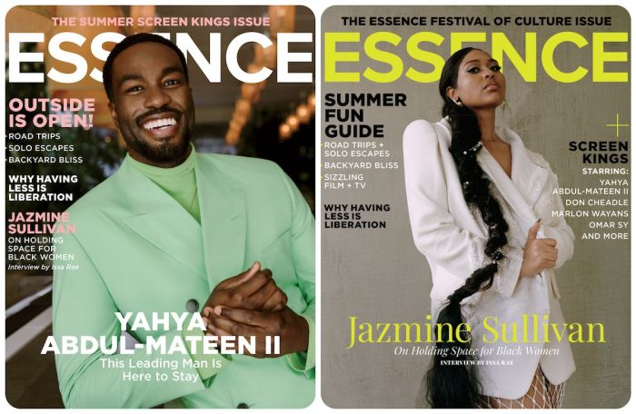 Double The Sexy: Essence Debuts Dual July/August Covers Featuring Jazmine Sullivan And Yahya Abdul Mateen II