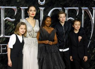 """Angelina Jolie and family at the """"Maleficent: Mistress Of Evil"""" European Premiere - Red Carpet Arrivals"""