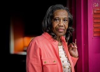 Gwen Levi, a 75 year old woman released from prison during the pandemic to protect from covid ,who may have to return after the pandemic is over, on April 09 in Baltimore, MD.