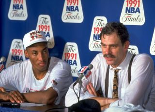 Scottie Pippen and Phil Jackson during theLos Anglees Lakers vs Chicago Bulls, 1991 NBA Finals