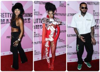 Karrueche Tran and Chris Brown attend the PrettyLittleThing Madhouse hosted by Teyana Taylor