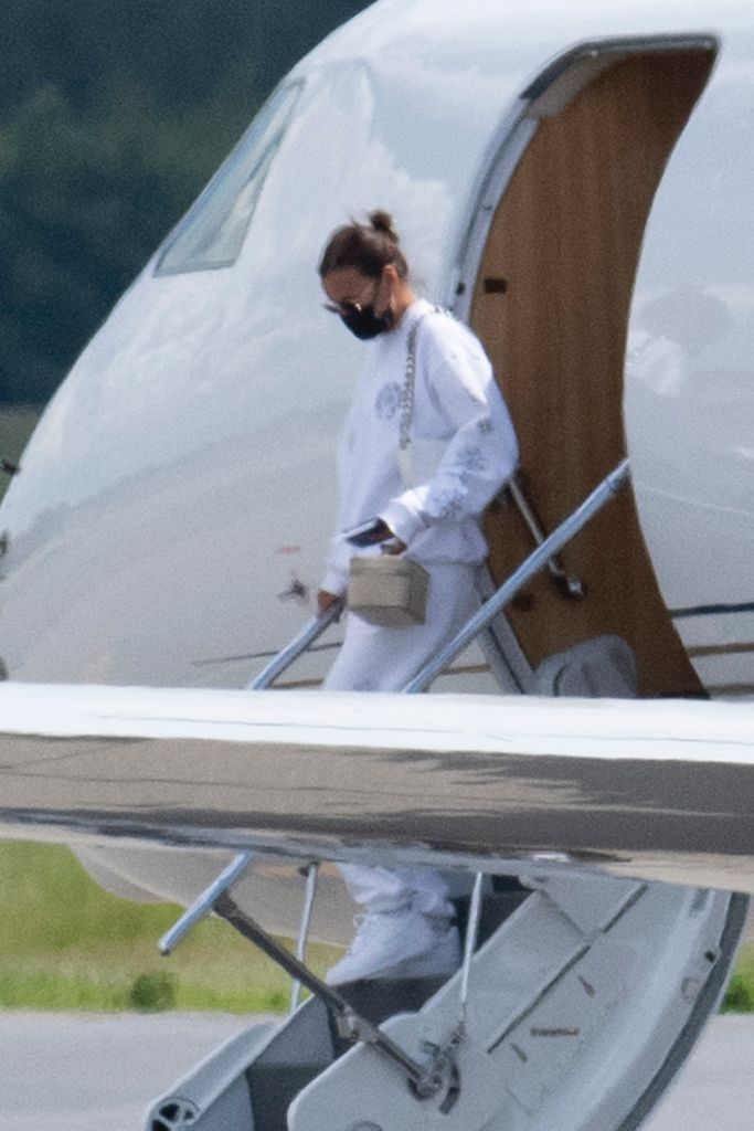 Kanye West and Irina Shayk arrive back in New Jersey