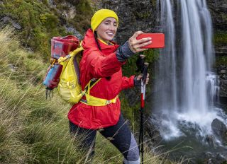 Selfie time with a waterfall in a background