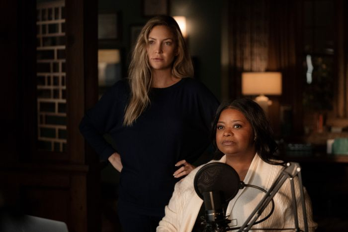 Key Art and production still from Truth Be Told starring Octavia Spencer and Kate Hudson