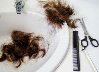 Cut hair in the bathroom sink