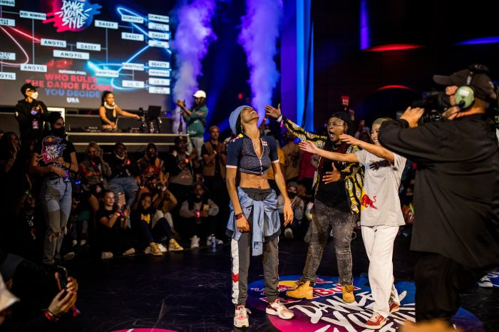 Angyil reacts to her win at Red Bull Dance Your Style National Finals